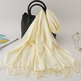 Emilie Scarves Pashmina sjaal Cashmere omslagdoek gebroken wit - 200*63CM