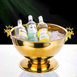 Champagnekoeler extra groot - hertenkoppen - goud