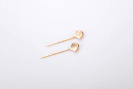Haarspeld set 4 stuks | haarknip | haarclip | schelpen | off white | goud