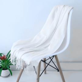 Emilie Scarves Pashmina sjaal Cashmere omslagdoek Sneeuw wit - 200*63CM