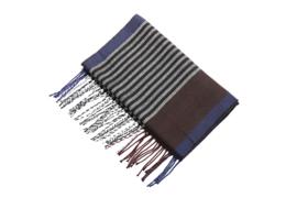 Fliex heren winter sjaal lang 190*32CM - Blauw wit bruin zwart - gestreept
