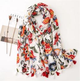 Sjaal - katoen linnen - bloemenprint - franjes