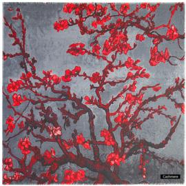 Van Gogh sjaal cashmere - Amandelbloesem - Grijs