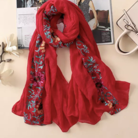 Embroidered sjaal rood