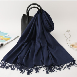 Emilie Scarves Pashmina sjaal Cashmere omslagdoek Donkerblauw Marine - 200*63CM