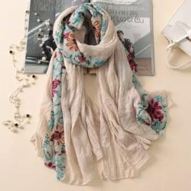 Embroidered sjaal beige