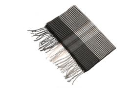Fliex heren winter sjaal lang 190*32CM - Beige Bruin - geruit gestreept