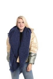 Emilie Scarves dames winter sjaal vierkant - Donkerblauw