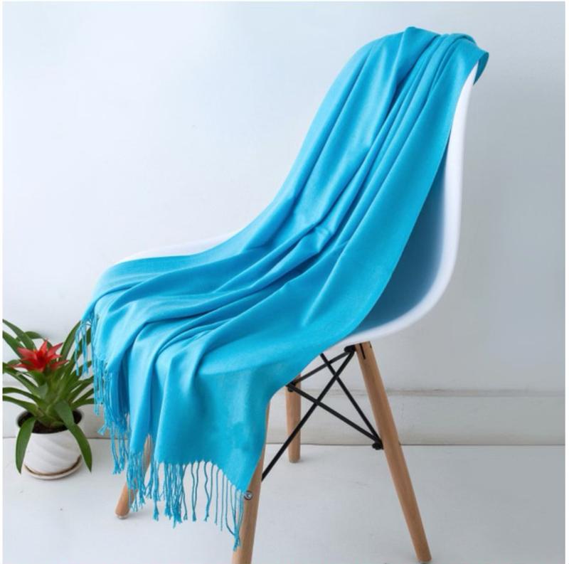 Emilie Scarves Pashmina sjaal Cashmere omslagdoek Morpho blauw fluo - 200*63CM