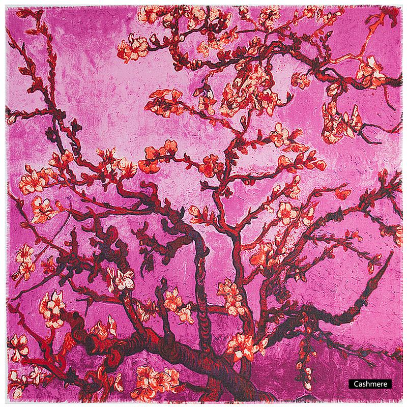 Van Gogh sjaal cashmere - Amandelbloesem - Roze / Paars