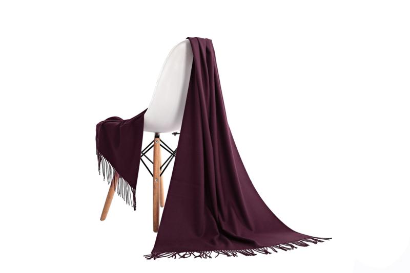 Emilie Scarves Pashmina sjaal Cashmere omslagdoek bordeauxrood wijnrood - 200*63CM