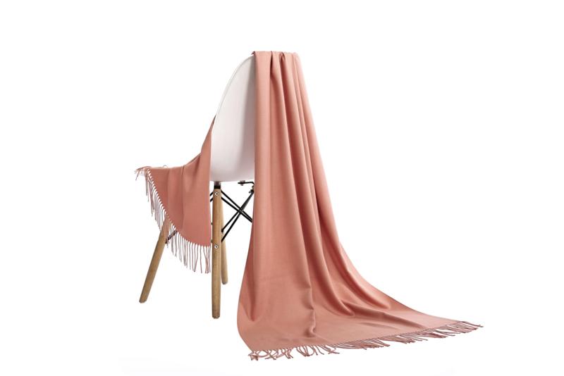 Emilie Scarves Pashmina sjaal Cashmere omslagdoek Koraal roze zalm - 200*63CM