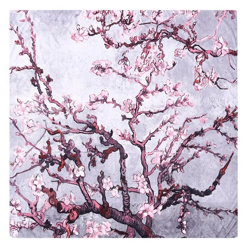 Van Gogh Amandelbloesem | Zijden Sjaal Dames | Zijden blend | 130*130CM | Giftbox | shawl stola | Schilderij | Grijs Roze