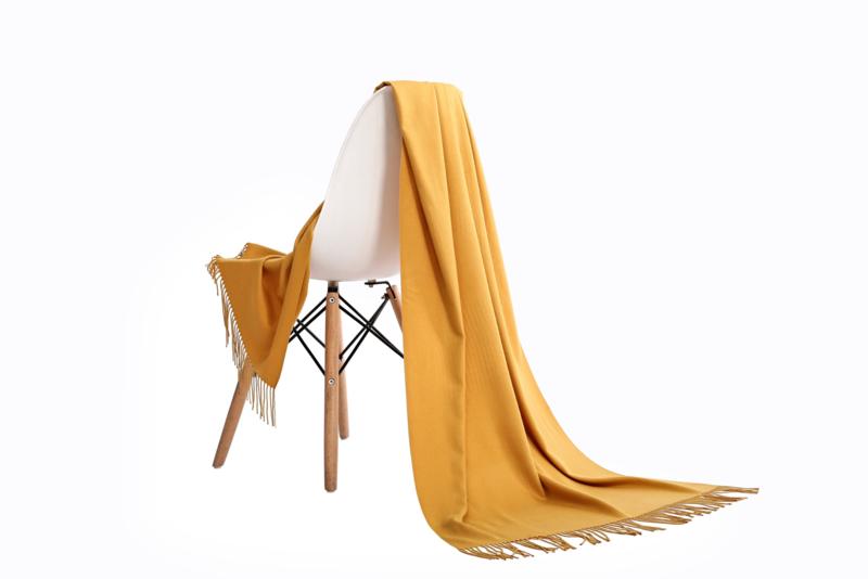 Emilie Scarves Pashmina sjaal dames   Cashmere   Shawl   omslagdoek   stola   okergeel   geel