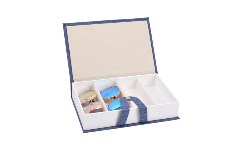 Brillen doos Zonnebrillen reisetui brillenbox Blauw 4 vakken