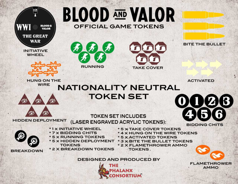 PRE ORDER: Blood and Valor Nationality Neutral Token Set