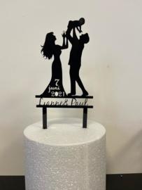 Taarttopper bruiloft met namen en datum
