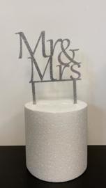Taarttopper glitter Mr en Mrs