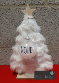 Kerstbal met naam doorzichtige bal.