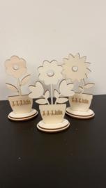 Houten bloem set
