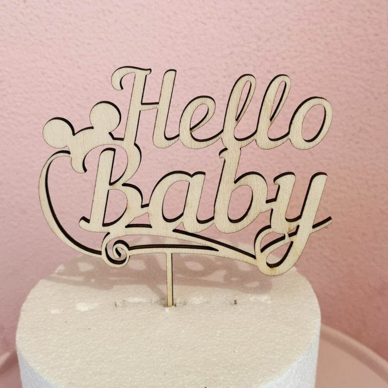 Hello baby Taarttopper ( Hout)