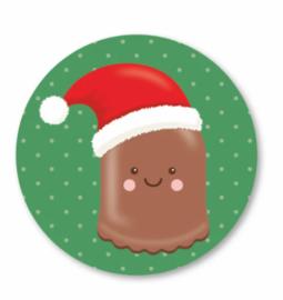 Sticker / Sluitsticker Chocolade Kerst zoen (Rond 40mm) Studio schatkist 5 stuks voor €0,80