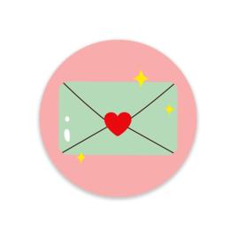 Sticker / Sluitsticker 'Envelope' Little Lefty Lou (Rond 40mm)  5 stuks €1