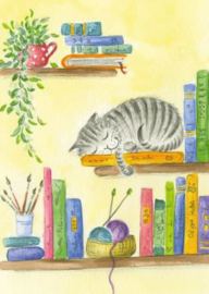 Gisela Herberger - Kat op boekenplank