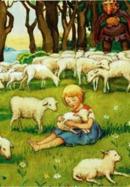 Elsa Beskow - Meisje met lammetjes