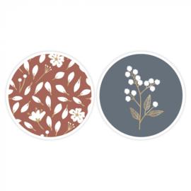 Sticker / Sluitsticker 'Winter Flowers' (Rond - 55mm) (10 stuks €0,99)