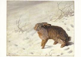 Ferdinand von Rayski - Haas in de sneeuw