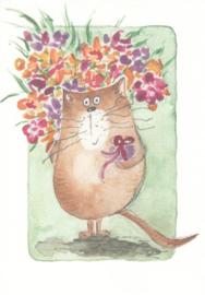 Gisela Herberger  - kat met boeket en cadeau