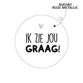Sticker / Sluitsticker 'Ik zie jou graag!' (Rond 40mm)  10 stuks €0,99