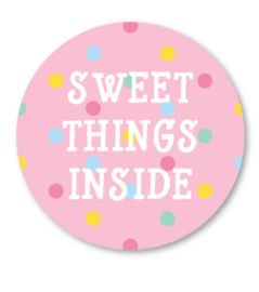 Sticker / Sluitsticker Sweet things inside  (Rond 40mm) Studio schatkist 5 stuks voor €0,80