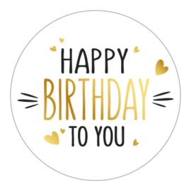 Sticker / Sluitsticker (Rond - 50mm) 'Happy Birthday to You' (10 stuks €0,99)