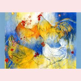 Loes Botman  - Haan met kippen