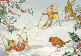 Molly Brett - Two pixies skiing with robin and rabbit looking on