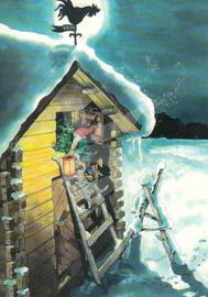 Inge Löök : Kabouter samen met kat op de ladder   - NR 221