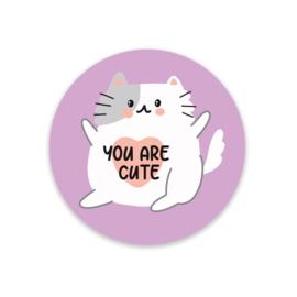 Sticker / Sluitsticker 'You are cute ' Little Lefty Lou (rond 40mm)  5 stuks €1