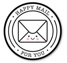 Sticker / Sluitsticker Happy mail for you (Rond 40mm) Studio schatkist 5 stuks voor €0,80