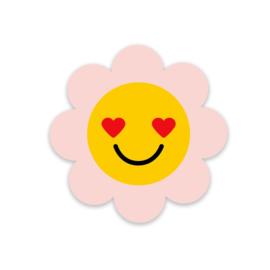 Sticker / Sluitsticker 'Pink Flower Smiley' Little Lefty Lou (40mm)  5 stuks €1