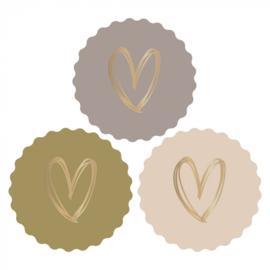 Sticker / Sluitsticker 'Heart Gold'  (55mm) 9 stuks €0,95