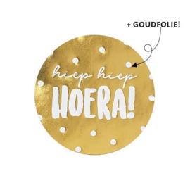 Sticker / Sluitsticker 'Hiep Hiep Hoera!'  Goud (Rond 40mm) 10 stuks €0,99