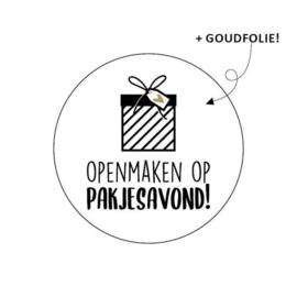 Sticker / Sluitsticker 'Openmaken op pakjesavond!' (Rond 40mm)  10 stuks €0,99