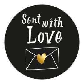 Sticker / Sluitsticker (Rond - 50mm) 'Sent with love' (10 stuks €0,99)