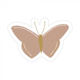 Sticker / Sluitsticker (55x38mm)  Butterfly Gold Warm Pink (10 stuks €0,99)