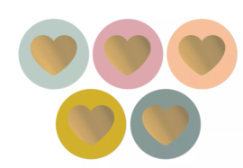 Sticker / Sluitsticker 'Lovely Hearts' (Rond 50mm)  10 stuks €0,99