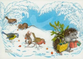 Molly Brett - Hedgehog Carrying misletoe and presents
