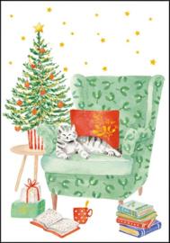 Carola Pabst  - Kat op de stoel bij de kerstboom
