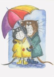 Gisela Herberger - Kattenpaar onder de paraplu